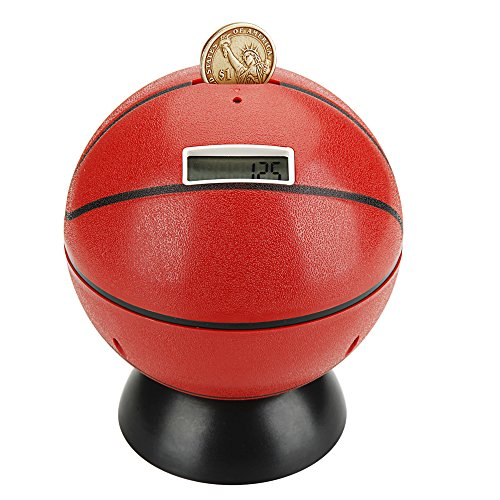 Talking Bank (Digital Coin Bank Counter Sorter, NUWELL Basketball Talking Saving Banks Money Box with Electronic Counting Function, Automatic LCD Display for US Coins)