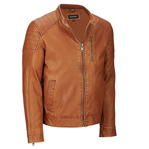 Black Rivet Mens Fauxleather Moto Jacket W/Quilted Shoulders L Cognac Black Rivet Leather Jacket