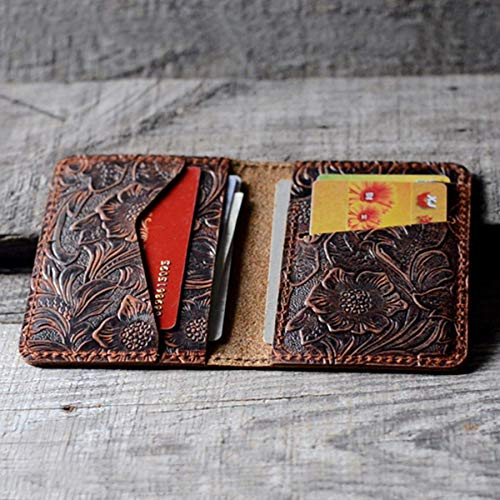 Distressed Men's Minimalist Leather Wallet Card Holder Distressed Wallets for Gifts Brown Flower