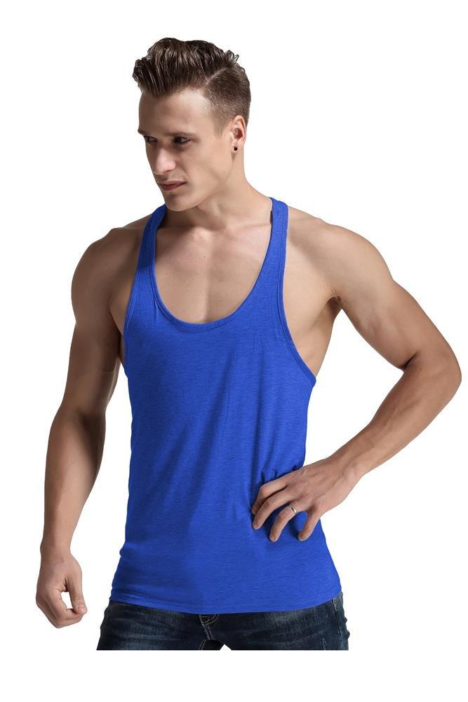 Men Fashion Blank Stringer Y Back Cotton Gym Sleeveless Shirts Tank t,(Blue, S)