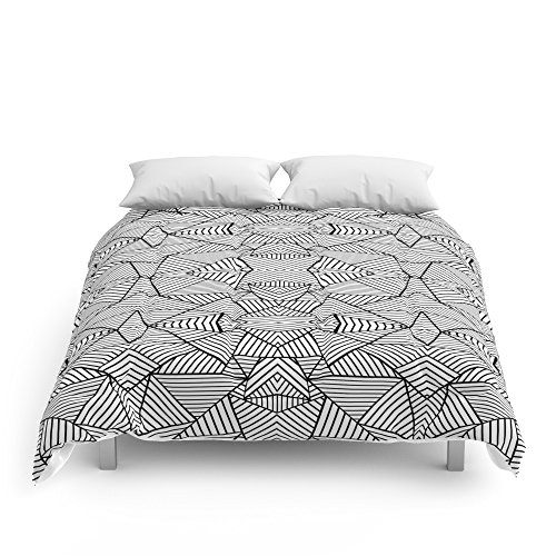 Society6 Abstract Mirror Black On White Comforters Queen: 88'' x 88'' by Society6