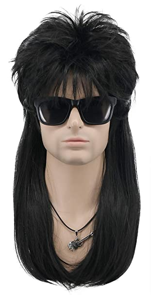 VGbeaty Men and Women Long Straight Wig 70s 80s Rocker Punk Rock Disco Mullet Wig Black