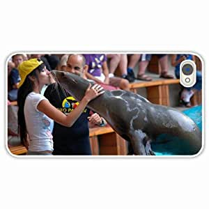 iPhone 4 4S Black Hardshell Case fur seal trainer White Desin Images Protector Back Cover