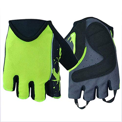 OPENDOORRED Cycling Gloves,Silicone Non-Slip Outdoor Sports Bike Gloves Breathable Mesh Half Finger Gloves,Wear-Resistant and Sweat-Absorbent,Green,L - Online Sports Mesh Gloves