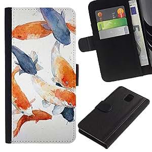 KLONGSHOP / Tirón de la caja Cartera de cuero con ranuras para tarjetas - Fish White Blue Orange Grey - Samsung Galaxy Note 3 III N9000 N9002 N9005