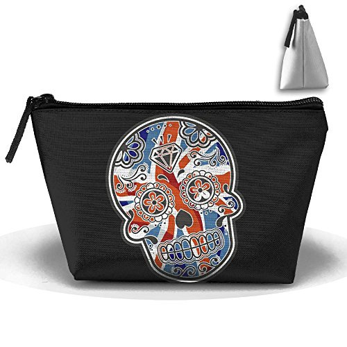 UK Flag Skull Makeup Bag Storage Portable Travel