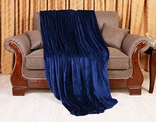 Utopia Bedding Flannel Fleece Luxury Premium Bed Blanket FBA/_COMIN18JU093348 Plush Fabric Extra Soft Brushed Microfiber - Queen, Navy