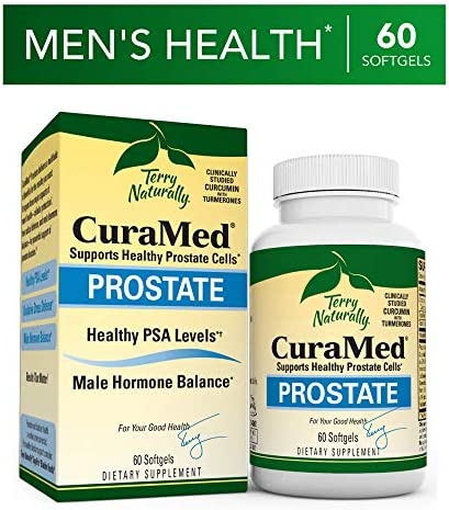 Terry Naturally CuraMed Prostate – BCM-95 Curcumin Complex, 60 Softgels – Healthy Prostate Support Supplement, Supports Healthy PSA Levels Male Hormone Balance – Non-GMO, Gluten-Free – 30 Servings
