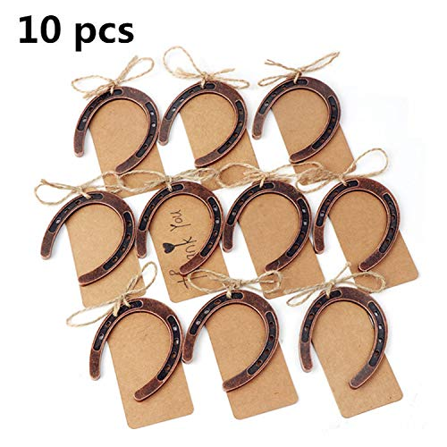 (OUOK DIY Wedding Party Favors Key Bottle Wine Opener Cover Paper Candy Bag Lock with Tags Wedding Gifts for Guest Decoration,Horseshoe Tags )