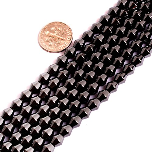 Magnetic Hematite Beads for Jewelry Making Natural Gemstone Semi Precious 6x6mm Bicone Black Healthing Healthy 15