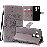 OuDu Printing Pattern Case for LG Nexus 5X PU Leather Cover Flip Wallet Shell Silicone Inner Skin Book Style Bumper Tree&Butterfly Elegant Sleeve - Gray