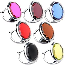IETANG 7pcs/Set Double Compact Cosmetic Makeup Round Pocket Purse Magnification Jewel Mirror