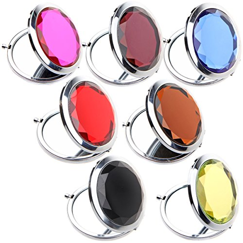 (IETANG 7pc Set Double Compact Cosmetic Crystal Makeup Mirrors Round Pocket Purse Magnification Jewel Mirrors)