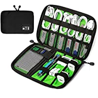 Travel Universal Cable Organizer Bag, Small Electronics Accessories Cases For Various USB,Cables, Earphone, Charger, Phone (Black & Green)
