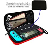 AIMAKE Nintendo Switch Carrying EVA Waterproof Hard Protective Deluxe Travel Case with 8 Game Cards for Nintendo Switch(Red)