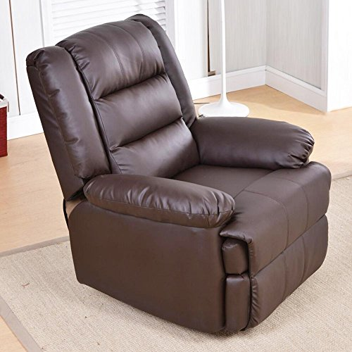 SogesHome Luxurious 360 Degree Swivel Rocking Manual Recliner Chair Leather Sofa Large Lounge Sofa,Brown,sh-501-BR-S (Wooden Chair Rocking Ship)