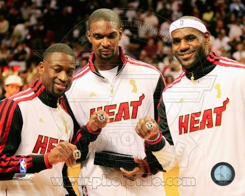 LeBron James, Dwyane Wade, Chris Bosh Miami Heat 2012 NBA Championship Rings Photo 8x10