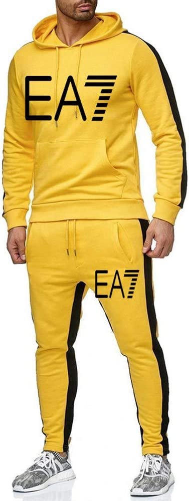 JHY Mens Tuta Jogging Fleece Felpa con Cappuccio Pantaloni Set,Style1,S