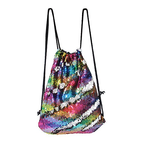 ICOSY Mermaid Sequin Bag Magic Reversible Sequin Drawstring Backpack Glitter Dance Bags Flip Sequins Backpack Bags Shining Sports Backpack for Kids Adults (Colorful Wave/Silver, 13.8x 17.7)