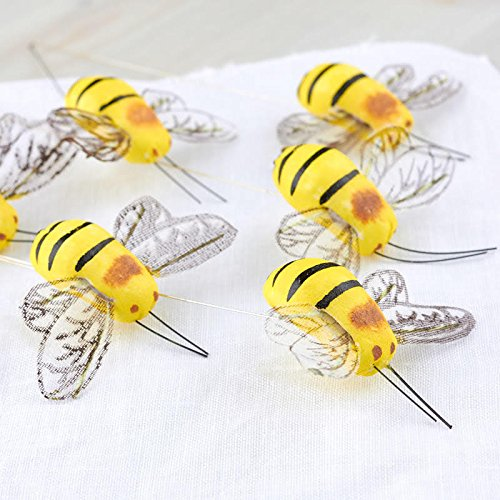 Factory Direct Craft Dense Foam Bumblebees on Wired Stems | 12 Bumblebees (2-1/4 Inches Long)