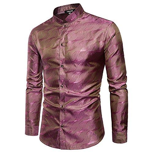- YIMANIE Mens Regular Fit Long Sleeve Shiny Satin Silk Like Dance Prom Dress Shirt Tops