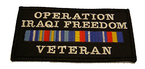 (OPERATION IRAQI FREEDOM VETERAN WITH SERVICE RIBBONS PATCH - Vivid Color - Veteran Owned Business.)