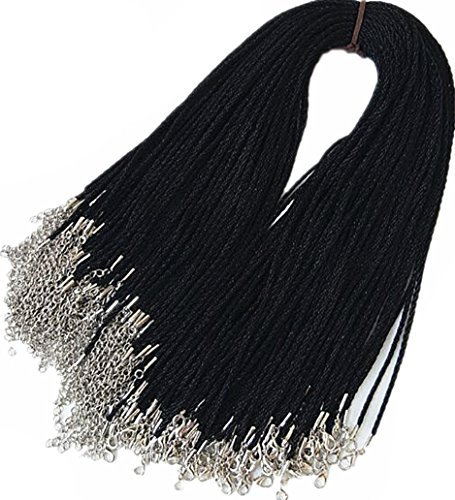 Wonderful 50pcs Black Satin Silk Necklace Cord Rope Necklace Chain with Lobster Claw Clasp