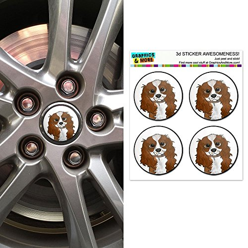 Graphics and More Cavalier King Charles Blenheim Wheel Center Cap 3D Domed Stickers Badges - Set of 4