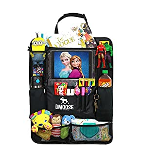 """DMoose Car Backseat Organizer with Tablet Holder for Kids and Toddlers (24"""" x 19 """") Large – Insulated Thermal Pockets, Strong Buckles - Use as Seat Back Protector, Kick Mat, Car Organizer"""