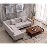 Container Furniture Direct S00128-L Barnet Sectional Sofa, Beige/Tan