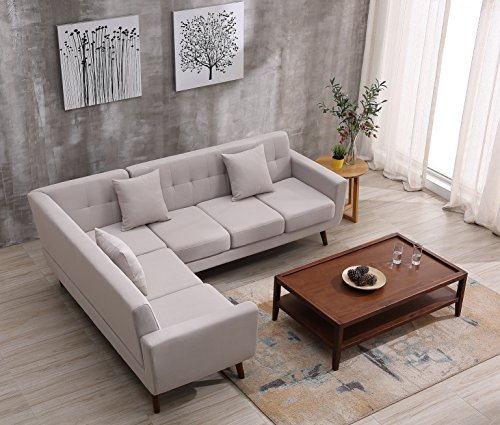 Container Furniture Direct S00128-L Barnet Sectional Sofa, (Tan Sectional Sofa)