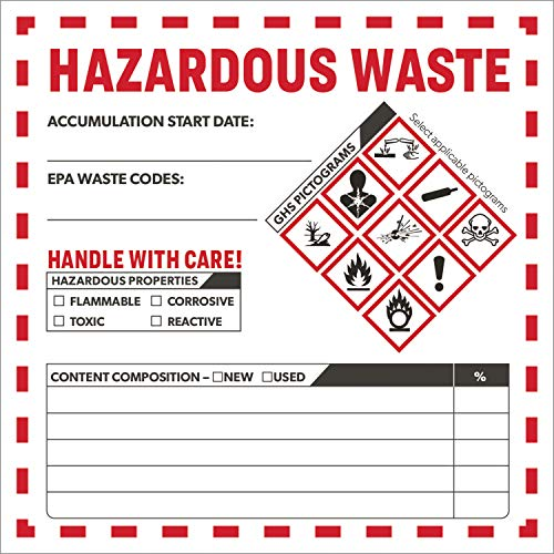 Avery Hazardous Waste Accumulation Labels, Preprinted, Handwrite Only, 4