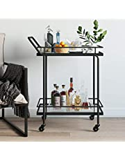 Nathan James 45102 Sally Rolling Bar or Cart for Tea or Cocktail, 2-Tiered Glass and Metal, Black