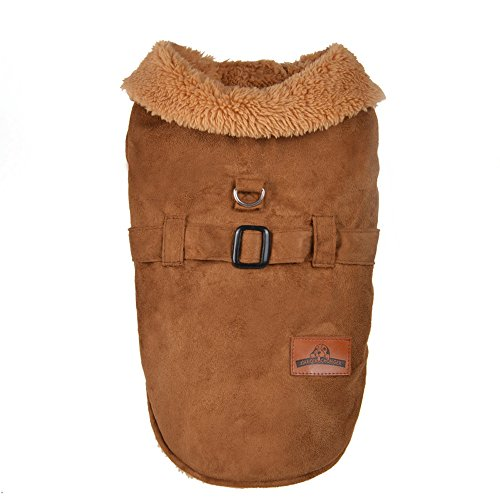 Xiaojuan Autumn and Winter Warm pet Jacket Thick Imitation Deerskin Jacket Dog Clothing (XS, Yellow) - Dress Deerskin