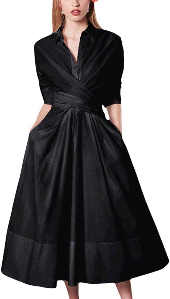 WYYY Vestidos Temporada De Verano Falda Larga Manga Larga Collar Polo Doblar Color Puro Negro Damas Sexy Vestido De Noche (Tamaño : Metro)