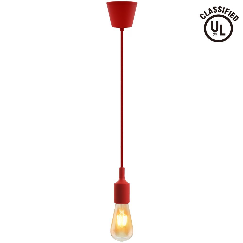 UL-listed Single Socket Pendant Light Fixture (Multi-color Options), Textile Insulating Lamp Cord, Silicon E26/E27 Lamp Holder for Home, Commercial, Pub, Club, Counter, Accent & Decorative Lighting, Red