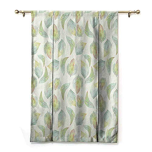 - DONEECKL Customized Curtains Nature Abstract Fall Autumn Time Inspired Flower Leaves Veins Artwork Image Simple Style W27 xL64 Seafoam Pale Green Cream