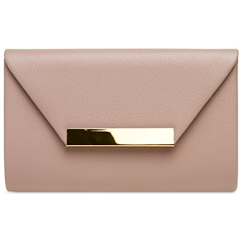 with XL Bag Women Old Elegant Metal Envelope CASPAR Decor Clutch TA419 Evening Rose for fwyH6qzqE
