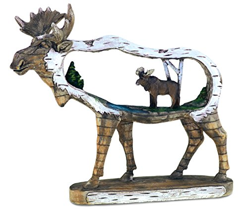 - Puzzled Elegant Dual Moose Animal Figure The Wild Snow Wooden Slice Decor Collection Wildlife Miniature Resin Handcrafted Figurine Unique Home Accent Kitchen Bedroom Living Room Gift Souvenir 7 Inch