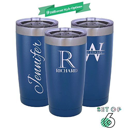 Be Burgundy - Set of 6 - Polar Camel Personalized Tumbler 20 oz. w/Clear Lid |9 Different Design | Engraved Powder Coated Cups with Double-Wall Vacuum Sealed Sweat Free - Q6 - Heat & Cold - Royal by Be Burgundy