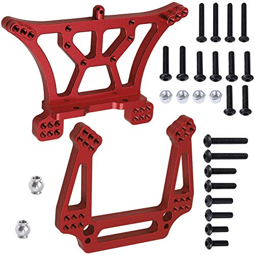 Hobbypark Aluminum Front & Rear Shock Tower Mounts Replace 3638 3639 for 1/10 Traxxas Slash 2WD Upgrade Parts (Red)