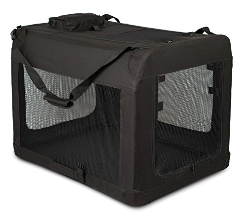 Cheap Internet's Best Soft Sided Dog Crate | Large (32 Inches) | Mesh Kennel | Indoor Outdoor Pet Home | Travel Easy | Folding and Collapsible Cage | Black