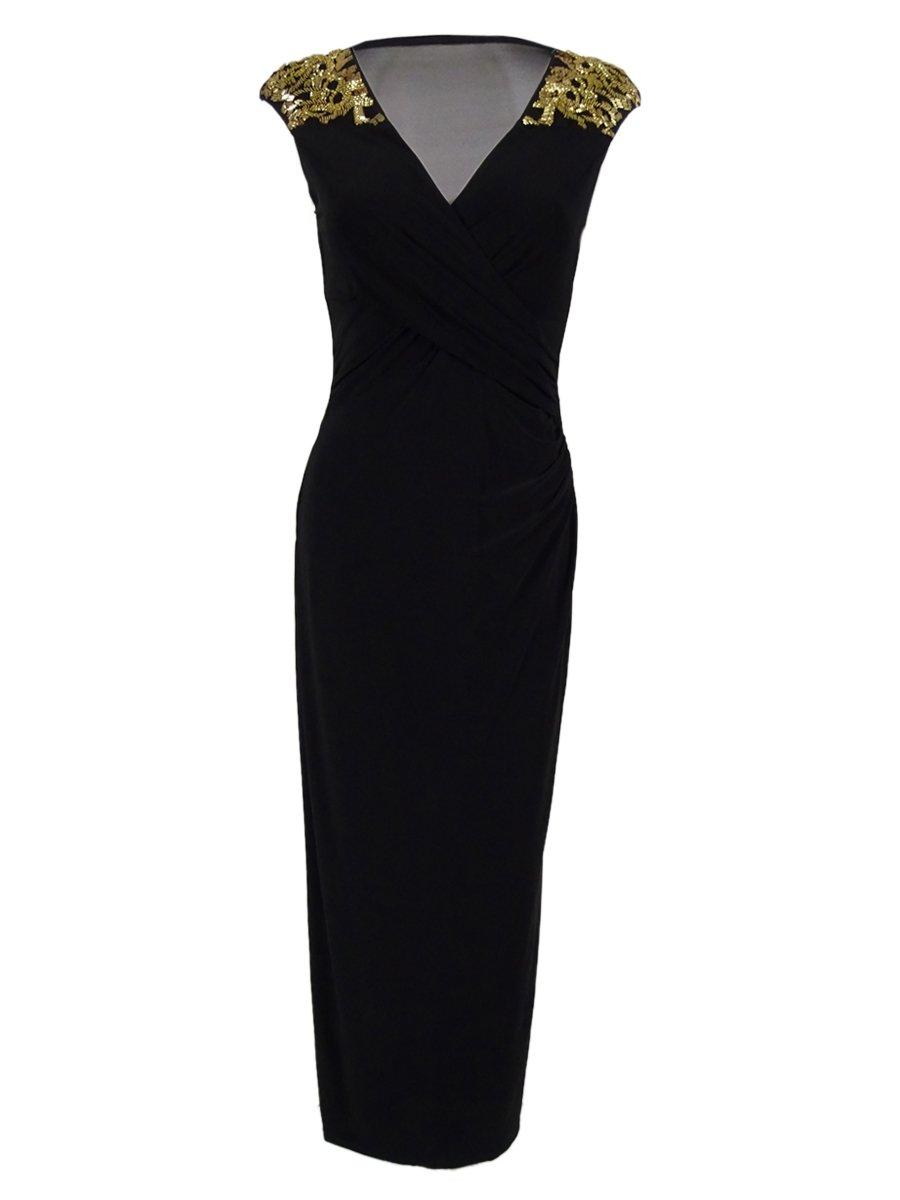 RALPH LAUREN Lauren Women's Jersey Embellished Gown (6, Black)