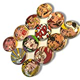 """Custom & Novelty {1"""" Inch} 12 Bulk Pack, Mid-Size Button Pin-Back Badges for Unique Clothing Accents, Made of Rust-Proof Metal w/ Comic Book Women ''Pop!'' Set Retro Art Styles [Multicolor]"""