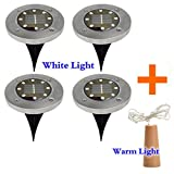 EnjoCho Solar Powered Light, 4Pcs 8LED Stainless Steel Solar Power Buried Light Under Ground Lamp With Copper Lamp For Outdoor Path Garden Decking (Silver)