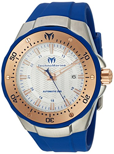Technomarine Men's 'Manta' Automatic Stainless Steel and Silicone Casual Watch, Color:Blue (Model: