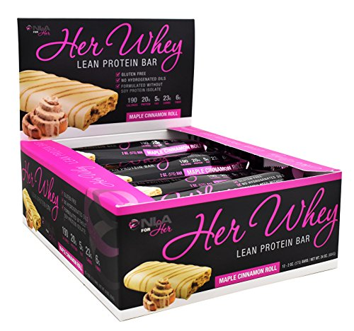 NLA for Her – Her Whey Lean Protein Bar – 20g of Protein, Gluten Free, Low Fat, Low Net Carbohydrates, Great Taste – Maple Cinnamon Roll – 12 Count Box