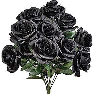 Lovely Black 12 Open Long Stem Roses Silk Wedding Flowers Bouquets Centerpieces Decor 110