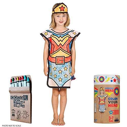 (Wonder Woman Costume Coloring Set - Eco 100% Cotton, 8 Crayons, Reusable Eco Paper Tube for Kids 3-7 Years (Wonder)
