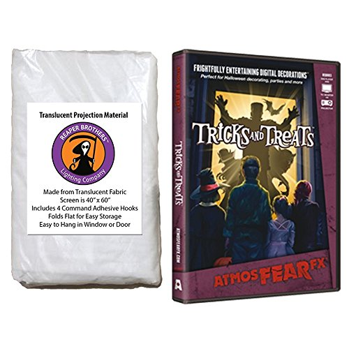 Kringle Bros AtmosFearFX Tricks and Treats Halloween DVD and Reaper Brothers High Resolution Window Projection Screen]()